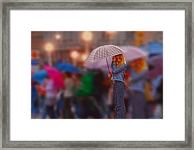 Lonelyredhead In The Rain Framed Print by Don Wolf