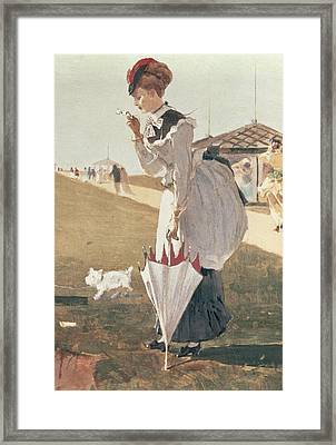 Long Branch Framed Print by Winslow Homer