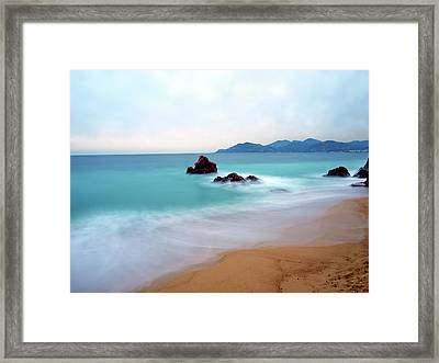 Long Exposure Of Blue Sea Framed Print