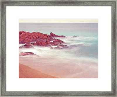 Long Exposure Shot At Beach With Soft Tones Framed Print