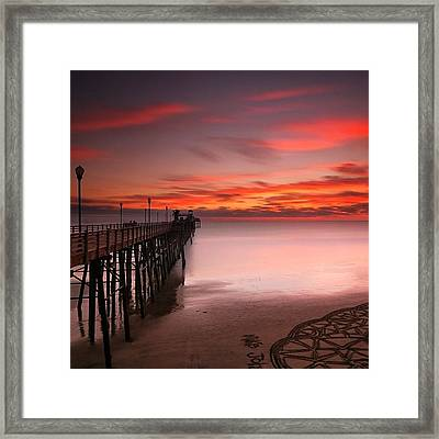 Long Exposure Sunset At The Oceanside Framed Print