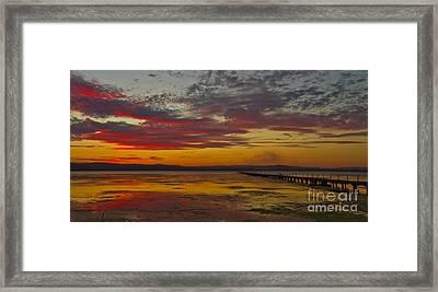 Long Jetty On Fire Framed Print by Bryan Freeman