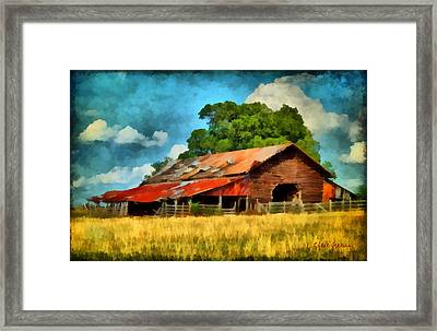 Framed Print featuring the painting Long Road Barn by Lynne Jenkins