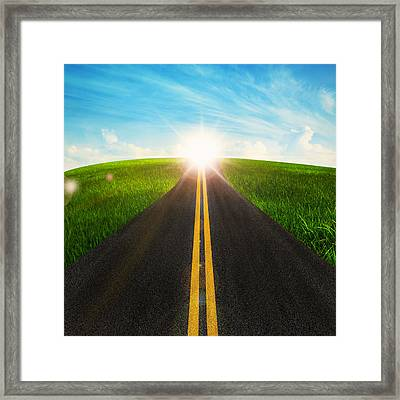 Long Road In Beautiful Nature  Framed Print
