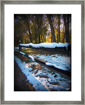 Long Snow Fence Framed Print by Michelle Frizzell-Thompson