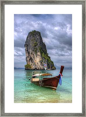 Long Tail Boat Framed Print by Anik Messier