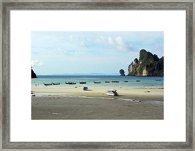 Long Tail Boats In Bay Of Phi Phi, Thailand Framed Print by Thepurpledoor