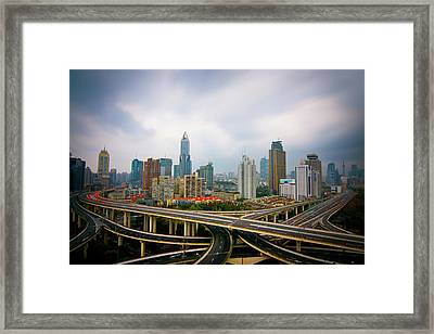 Long Twisting Bridges In Shanghai Framed Print by Allister Chiong's Photography