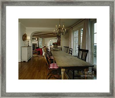 Long Weathered Rustic Table Framed Print