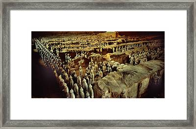 Longbow Archers Stand In Front Rows Framed Print