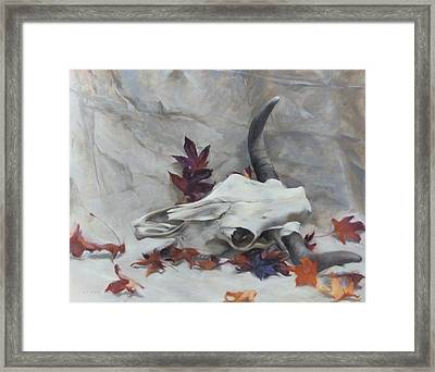 Longhorn With Leaves Framed Print