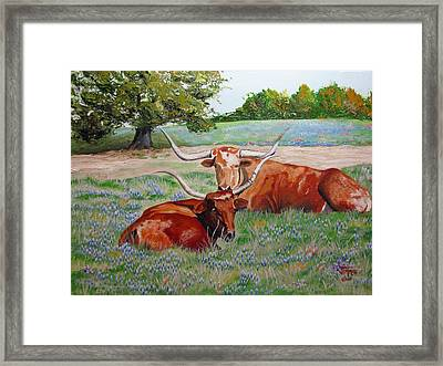 Framed Print featuring the painting Longhorns In Bluebonnet Field by Jimmie Bartlett