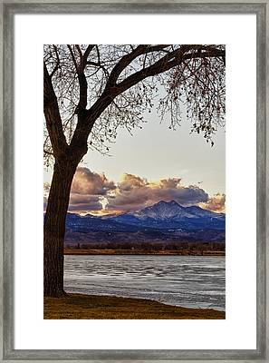 Longs Peak And Mount Meeker Across The Lake Sunset View Framed Print by James BO  Insogna