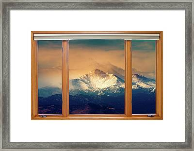 Longs Peak And Mount Meeker Wood Window View Framed Print by James BO  Insogna