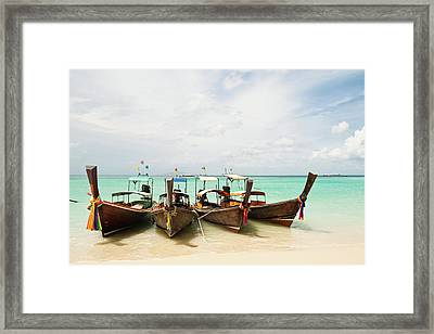 Longtail Boats At Phi Phi Island, Thailand Framed Print by Melissa Tse