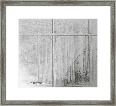 Framed Print featuring the drawing Lookiing Through by Jim Hubbard