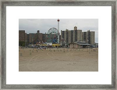 Looking Across The Beach To The Ferris Framed Print by Todd Gipstein