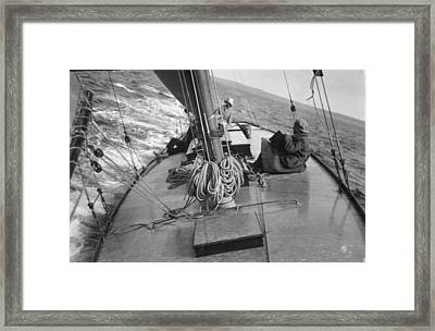 Looking Across The Deck Of A Sailboat Framed Print by Bell Collection
