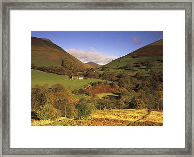 Looking Across To Great Calva Between Lonscale Fell And Blencathra Near Keswick In Full Autumn Glory, Lake District, Cumbria, England Framed Print by Keith Wood
