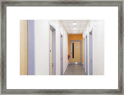 Looking Down A Corridor In A Modern Framed Print by Iain  Sarjeant