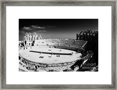 Looking Down On Main Arena Of Old Roman Colloseum El Jem Tunisia Framed Print by Joe Fox