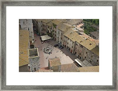 Looking Down On The Red Tile Rooftops Framed Print