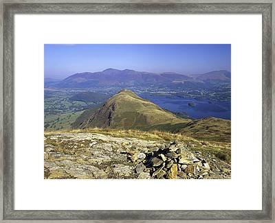 Looking Down Onto Catbells From Maiden Moor With Derwentwater And Skiddaw In The Background, Lake District, Cumbria, England Framed Print by Keith Wood