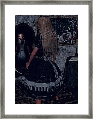 Looking Glass Alice Framed Print by Maynard Ellis
