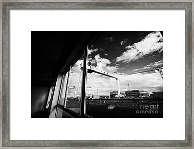 Looking Out At Harland And Wolff Shipyard Cranes From Inside An Old Factory Warehouse Unit Belfast Framed Print by Joe Fox