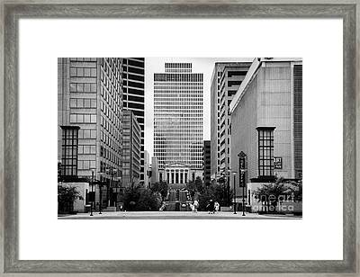Looking Up Deaderick Street Towards War Memorial Plaza And The William Snodgrass Tennessee Tower Framed Print by Joe Fox