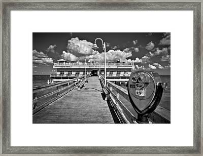 Lookout At Oceanview Fishing Pier Framed Print