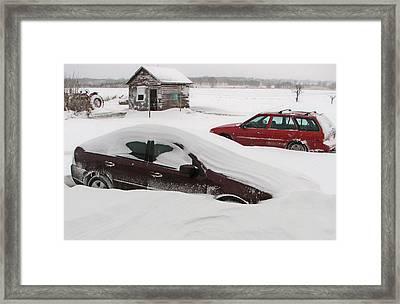 Looks Like We Had Snow Last Night Framed Print by Victoria Sheldon