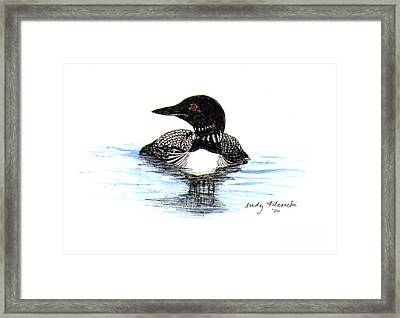 Loon Swim Judy Filarecki Watercolor Framed Print by Judy Filarecki