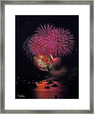 Lopez Island Fireworks 4 Framed Print by David Salter