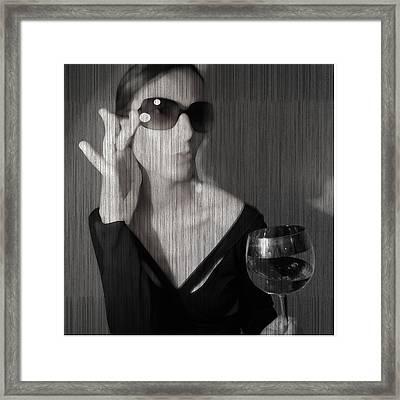 Loren With Wine Framed Print