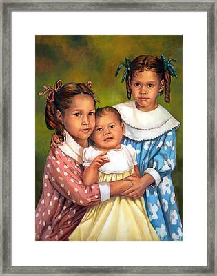 Framed Print featuring the painting Loretta And Her Sisters by Nancy Tilles