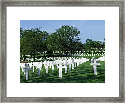 Framed Print featuring the photograph Lorraine Wwii American Cemetery St Avold France by Joseph Hendrix