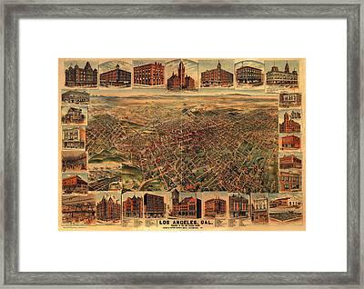 Los Angeles California 1891 Framed Print by Donna Leach