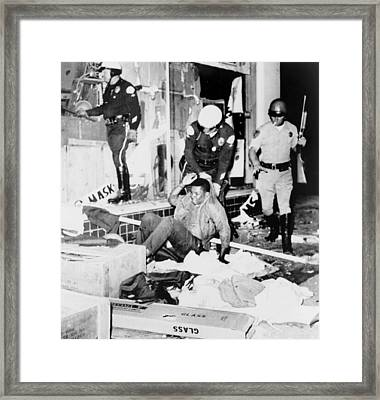 Los Angeles Police Drag Black Youth Framed Print by Everett