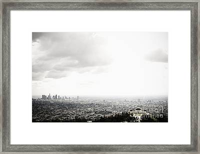 Los Angeles Skyline And Griffith Observatory Beneath Cloudy Sky Framed Print by Sam Bloomberg-rissman