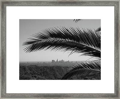Los Angeles Skyline From Hollywood Hills Framed Print by Mike Shaffer
