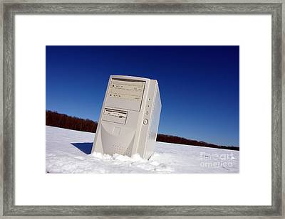 Lost Computer In Snow Framed Print by Olivier Le Queinec