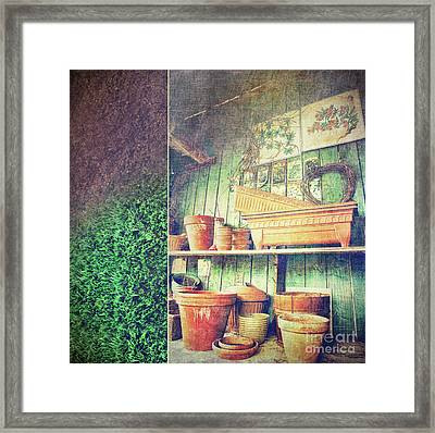 Lots Of Different Size Pots In The Shed Framed Print