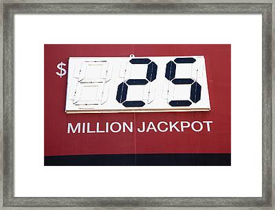Lottery Sign With Winning Value Framed Print by Nathan Griffith