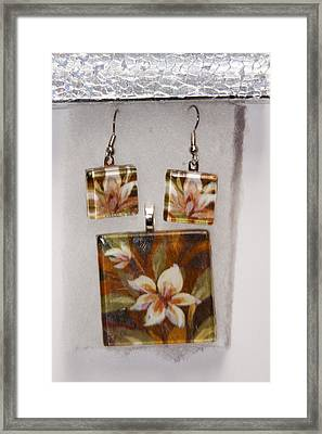 Framed Print featuring the jewelry Lotus Flower Pendant And Earring Set by Darleen Stry