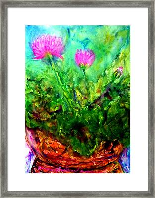 Lotus Flowers On My Balcony Framed Print