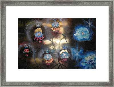 Framed Print featuring the mixed media Lotuses In Muddy Waters by Diana Riukas