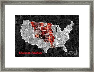 Louisiana Purchase Coin Map . V1 Framed Print by Wingsdomain Art and Photography