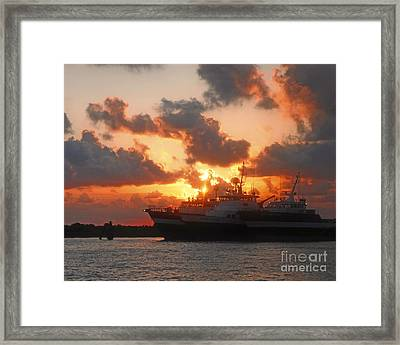 Louisiana Sunset In Port Fourchon Framed Print