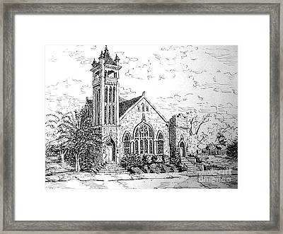 Framed Print featuring the drawing Louisianna Church 1 by Gretchen Allen